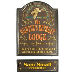 The Hunter's Retreat Lodge Personalized Hunting Sign