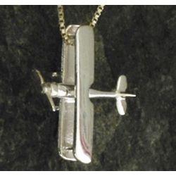 Silver Biplane Pendant Necklace