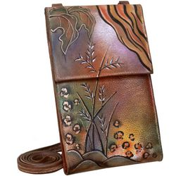 Anuschka Hand Painted Leather Organizer Wallet on a String