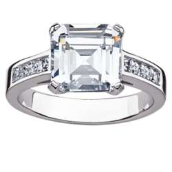 Sterling Silver Asscher-Cut Cubic Zirconia Engagement Ring