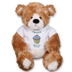 Personalized Blue Cupcake Birthday Teddy Bear