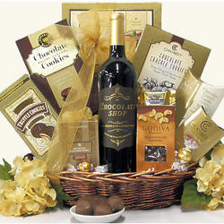Chocolate Haven Red Wine Gift Basket