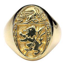Men's Personalized Coat of Arms Heavy Oval Ring