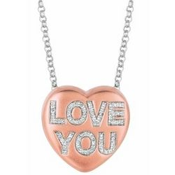 Love You Diamond Heart Word Necklace
