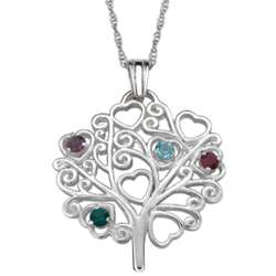 Sterling Silver Mother's Birthstone Heart Tree Pendant