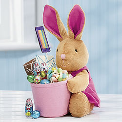 Pink Bunny with Candy Gift Basket