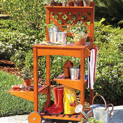 Wooden Potting Bench on Wheels