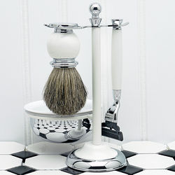 Timeless White Shaving Kit with Lathering Bowl