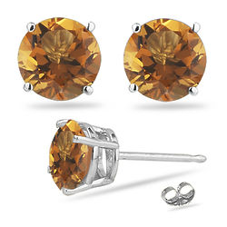Round Citrine Stud Earrings in 14K White Gold