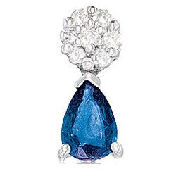 Diamond and Blue Sapphire Tear Drop Pendant Necklace