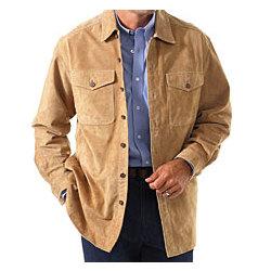 Men's Washable Suede Shirt-Jacket - FindGift.com