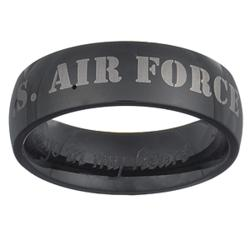 U.S. Air Force Black Stainless Steel Engraved Military Band