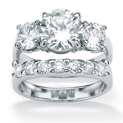DiamonUltra™ Cubic Zirconia Platinum Over Silver Wedding Ring Set