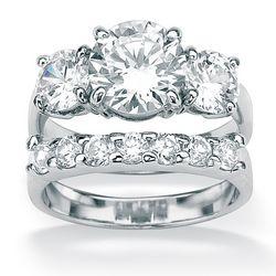 DiamonUltra™ Cubic Zirconia Platinum Over Silver Wedding Ring Set