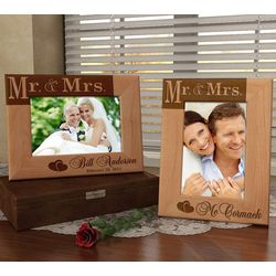 Personalized Mr. & Mrs. Wooden Picture Frame