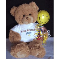 Personalized Feel Better Smiley Face Teddy Bear