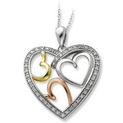 The Bond Of Love Tri Color Triple Heart Pendant