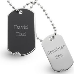 Engravable Black Matte Dog Tag Set