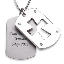 Stainless Steel Double Dog Tag Engraved Cross Pendant