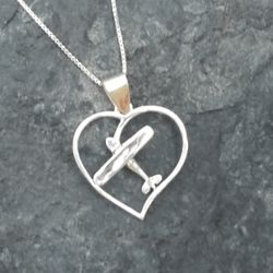 Silver Cessna Airplane Heart Pendant Necklace