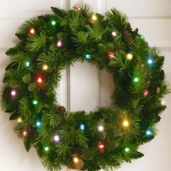 Multi-Colored 24-inch Cordless LED Pre-Lit Christmas Wreath
