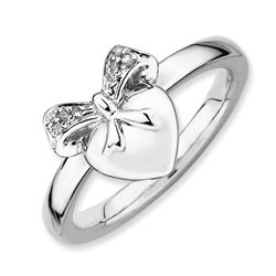 Sterling Silver Heart and Diamond Bow Ring