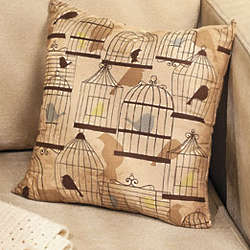 Plush Bird Print Pillow