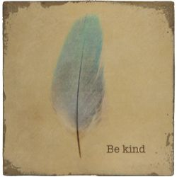 Be Kind Vintage Feather Block Wall Art