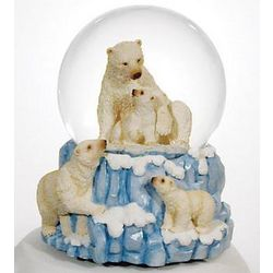 Polar Bears Playing on Iceberg Water Globe