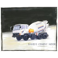Cement Truck Watercolor Personalized Art Print
