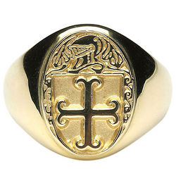 Women's Personalized Coat of Arms Heavy Oval Ring