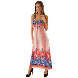Red Sexy Racerback Floral Print Maxi Sun Dress