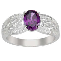 Sterling Silver Oval Birthstone Celtic Ring with Diamond Accents