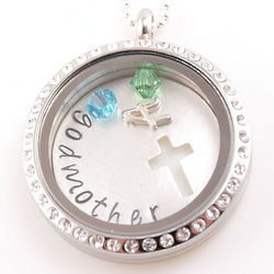 Godmother's Floating Glass Birthstone Personalized Locket