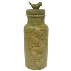 Tall Green Birds Canister