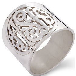 Sterling Silver Cutout Cigar Monogram Band