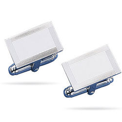 Sterling Silver Engine Turned Rectangular-Center Cuff Links