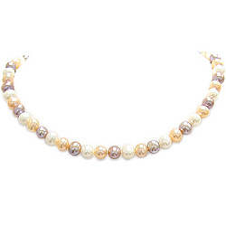 Multi Colored Pearl Necklace in Silver