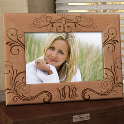 Personalized Elegant Monogram Wooden Picture Frame