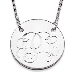 Sterling Silver Round Tag Monogram Necklace