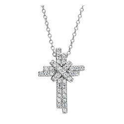Simulated 1.5 Carat Diamond Cross Pendant 18""