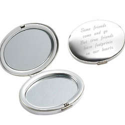 Personalized Silver Compact Mirror