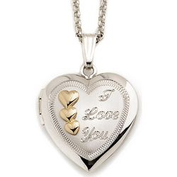 Sterling Silver and 14kt Yellow Gold I Love You Heart Locket