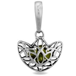 Dangling Peridot and Silver Charm