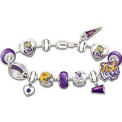 Geaux Tigers! #1 Fan Lsu Charm Bracelet With Swarovski Crystals