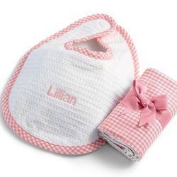 Pink Gingham Bib and Burp Cloth