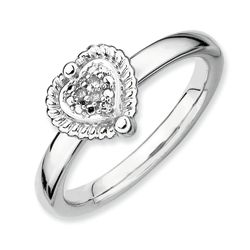 Sterling Silver Diamond Heart Topped Ring