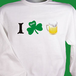 I Shamrock Beer Personalized Irish Sweatshirt