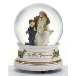 First Communion Boy with Jesus Glitterdome