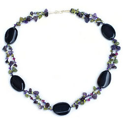 Enchantment Onyx and Amethyst Beaded Necklace